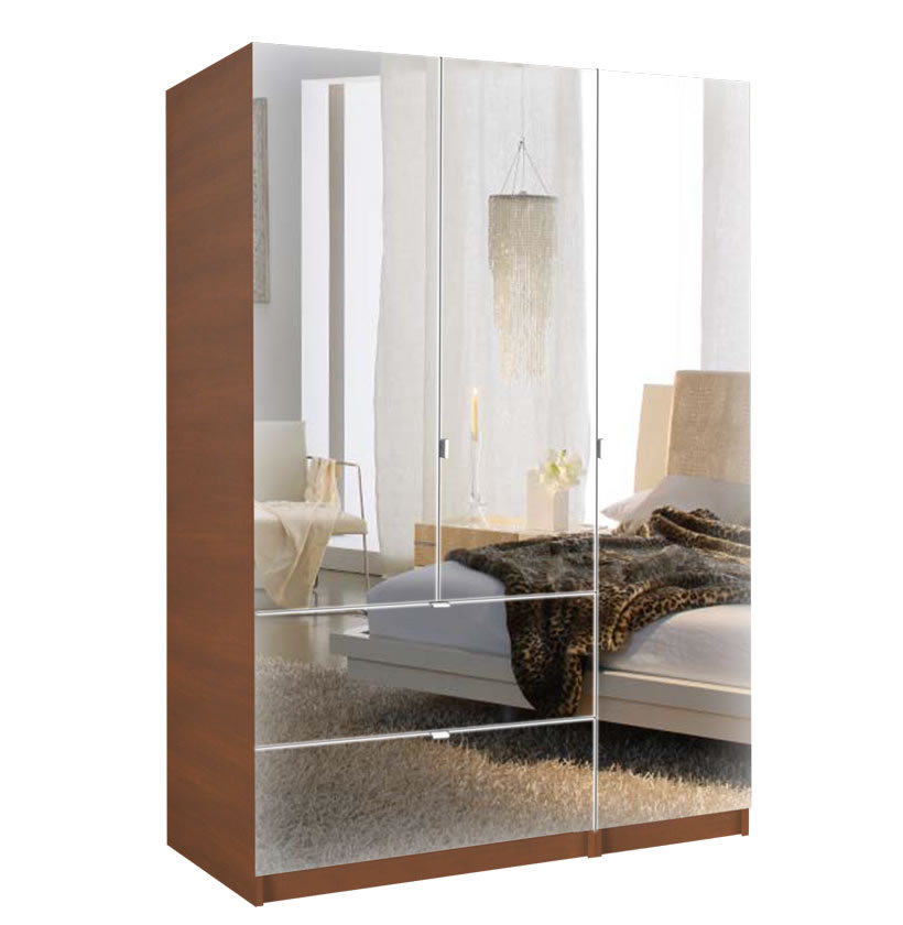 Mirrored Armoire: 3 Door Armoire Right Opening