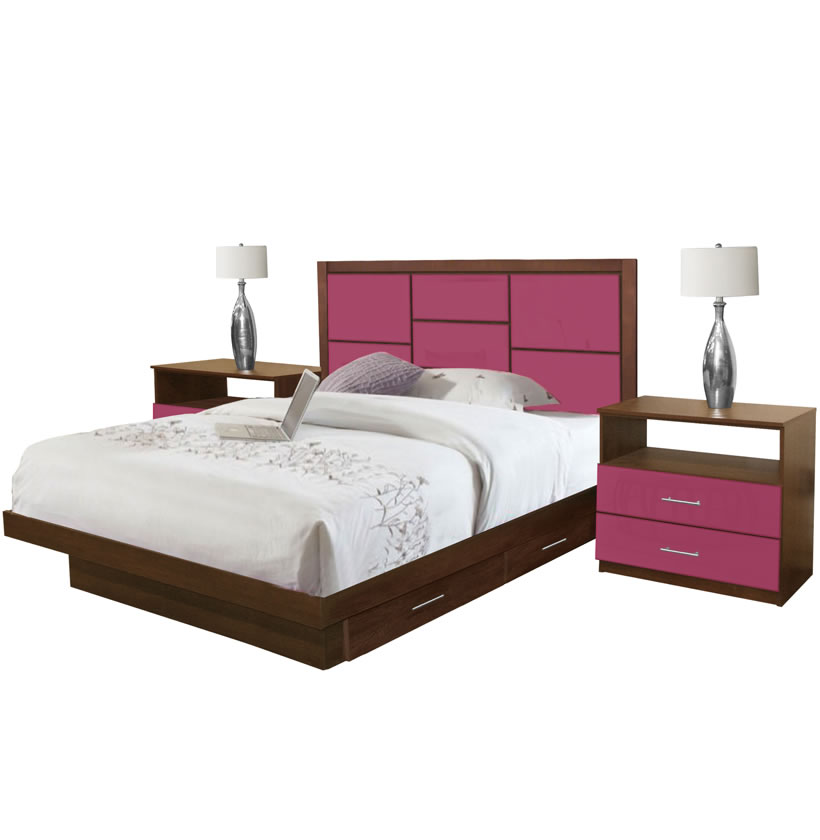 uptown king size bedroom set w storage platform contempo