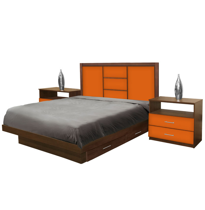 broadway king size bedroom set w storage platform