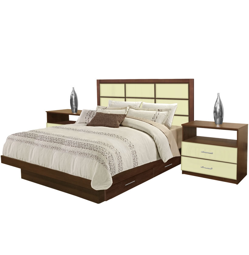 cambridge king size bedroom set w storage platform contempo space. Black Bedroom Furniture Sets. Home Design Ideas