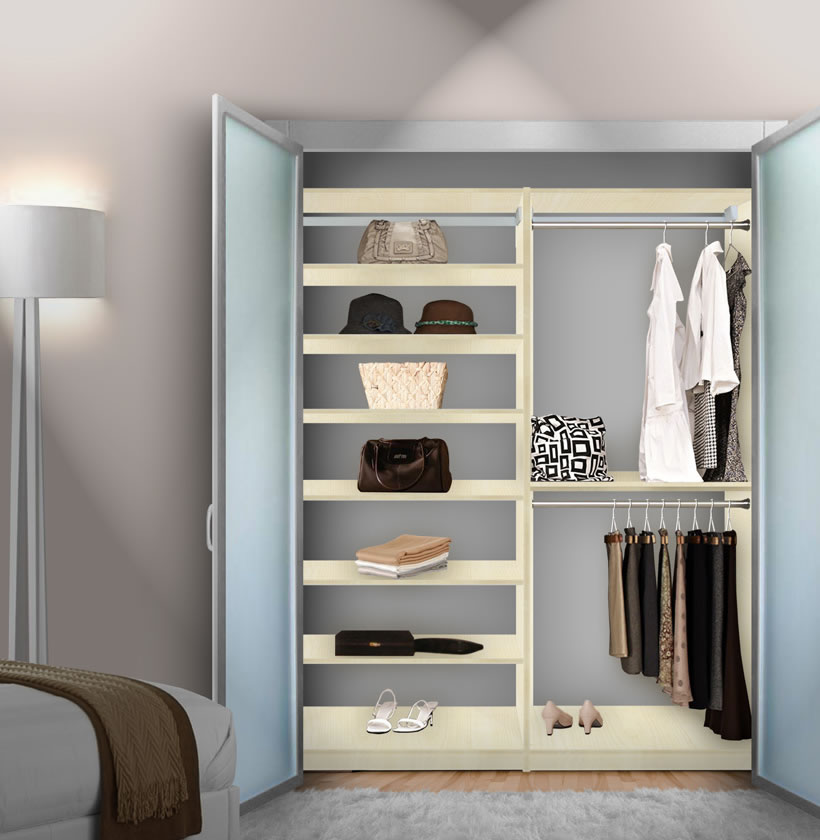 Closet System With Shelving; Wood Closet Shelving Built In