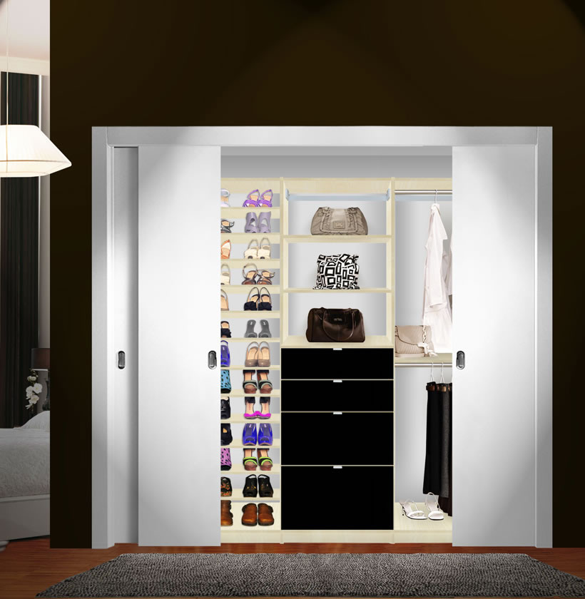 isa custom closet shoe storage drawers and hanging closet system contempo space. Black Bedroom Furniture Sets. Home Design Ideas