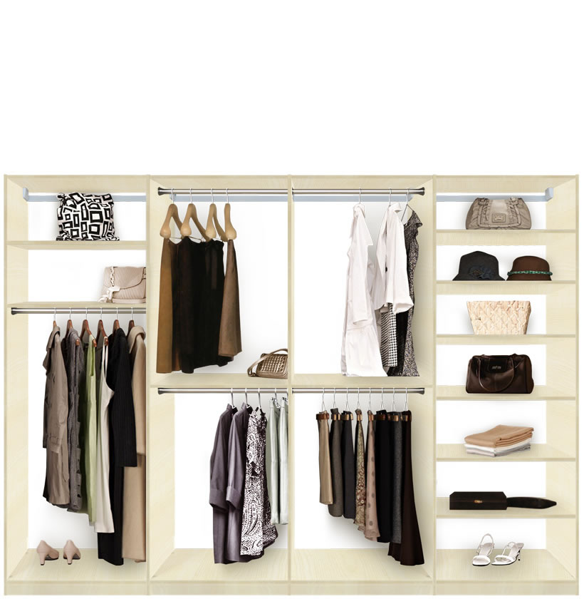 Isa custom closet system xl for large closets walk in or Closet organizing systems