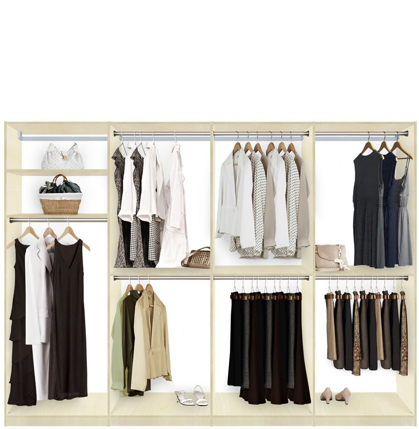 Isa walk in closet systems extra hanging storage for Extra closet storage