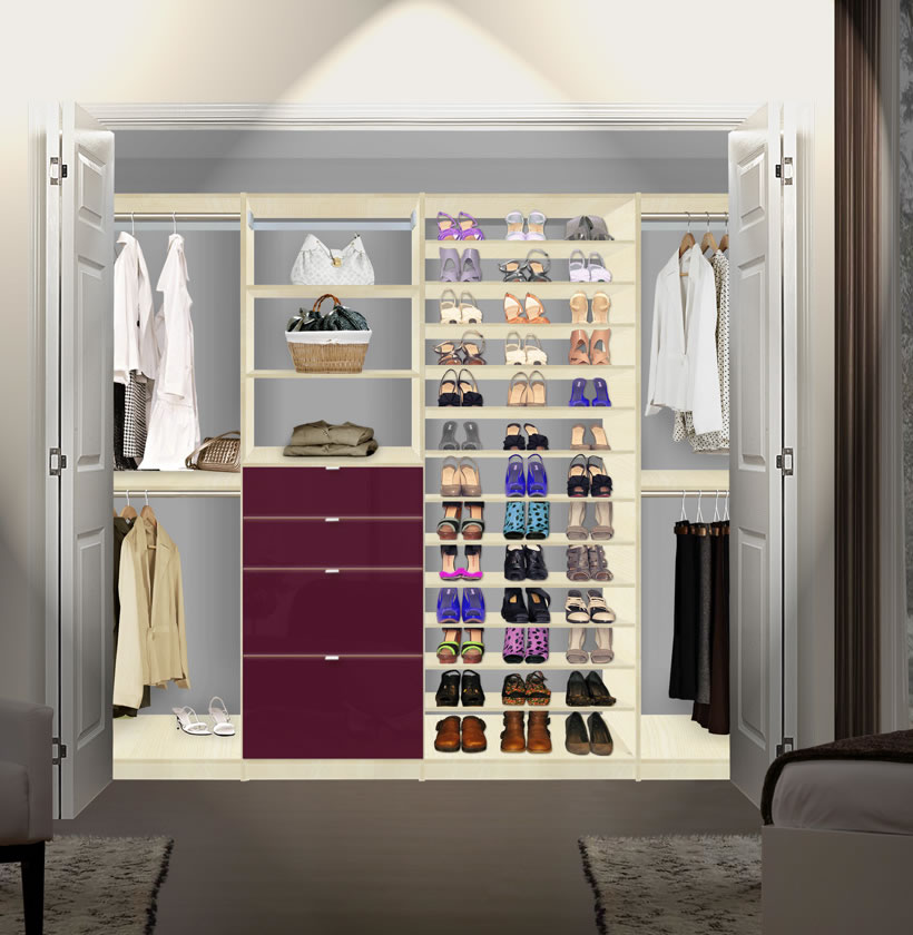isa closet system max shoe storage shelves and drawers contempo space. Black Bedroom Furniture Sets. Home Design Ideas