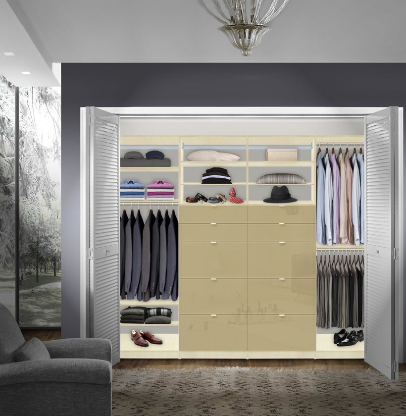 isa built in closet system xl plenty of closet drawers for storage contempo space. Black Bedroom Furniture Sets. Home Design Ideas