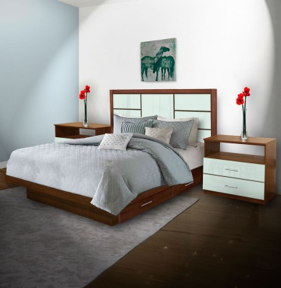 Downtown King Size Bedroom Set w Storage Platform