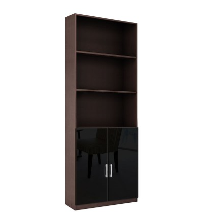 Alexis 7 Foot Bookcase with Custom Cabinet Doors