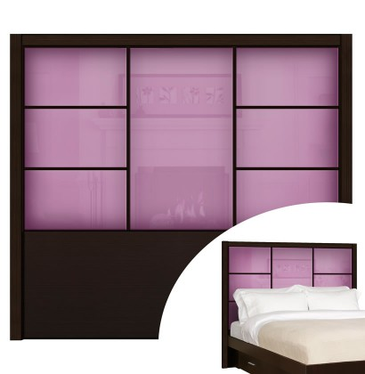 French Lilac Colored Glass - Downtown Queen Headboard