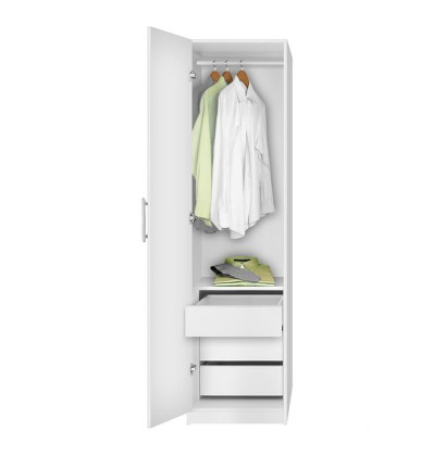 Alta Narrow Wardrobe Closet   Left Door, 3 Interior Drawers
