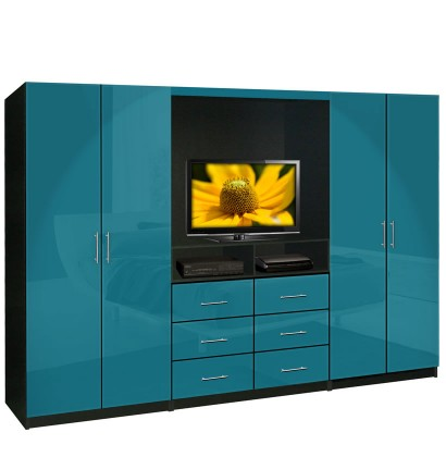 Aventa tv wardrobe wall unit free standing bedroom tv for Bedroom designs with tv unit