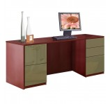Alexis 5 Drawer Credenza Computer Desk - Full Pedestal
