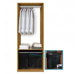 Isa Custom Closet - Hang Rod with Hamper Pullout