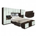 Lincoln 4 Drawer Platform Bed w Pier Mirrored Storagemax Headboard & Footboard