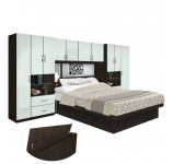 Lincoln Pier Wall Platform Bed w Mirrored Storagemax Headboard