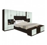 Lincoln Pier Wall Platform Bed w Matte Headboard & Storage Footboard
