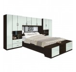 Lincoln Pier Wall Platform Bed w Mirrored Headboard & Storage Footboard