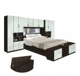 Lincoln Pier Wall Platform Bed w Mirrored Storagemax Headboard & Storage Footboard