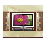 Sawyer Entertainment Center - Contemporary Glass Doors, Overhead Storage