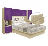Studio Pier Wall Platform Bed w Mirrored Storagemax Headboard