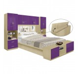 Studio Pier Wall Platform Bed w Mirrored Storagemax Headboard & Storage Footboard