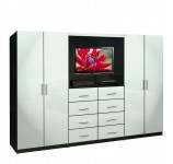 Aventa TV Wall Unit for Bedrooms - Free Standing Bedroom Wardrobe Unit