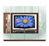 William Entertainment Center - Modern Lighted Glass DIsplay, 360 Storage