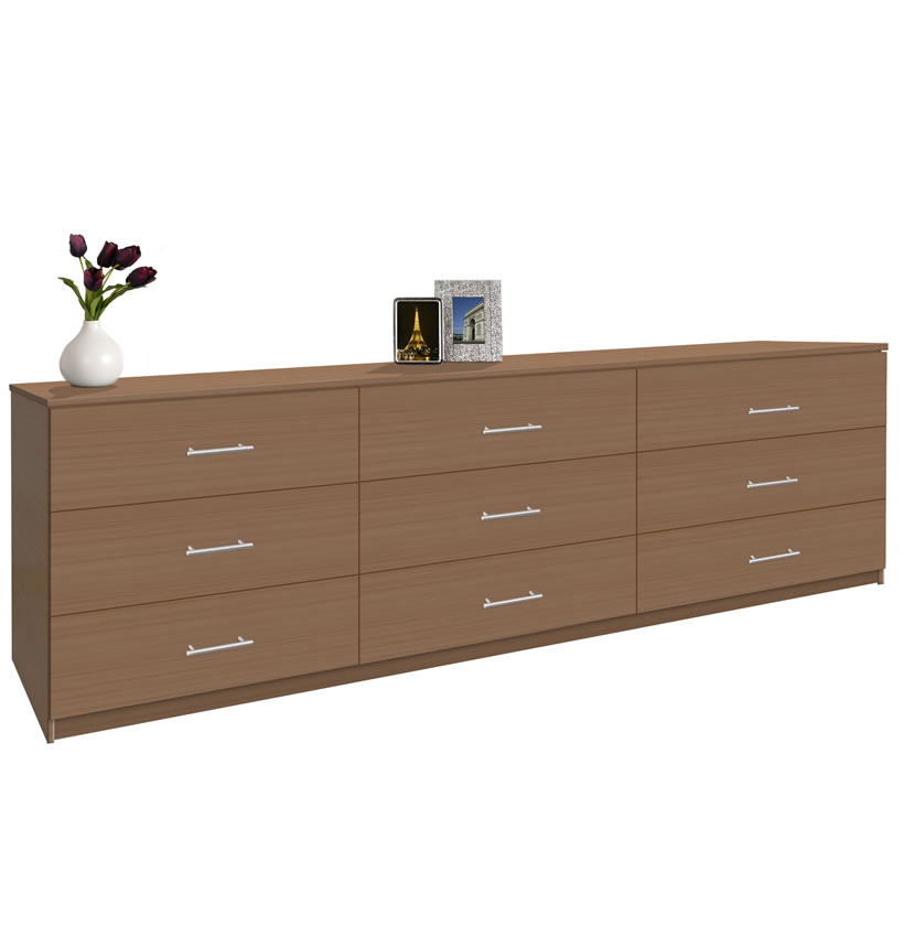 Modern 9 Drawer Triple Dresser 8 Feet Long Contempo Space