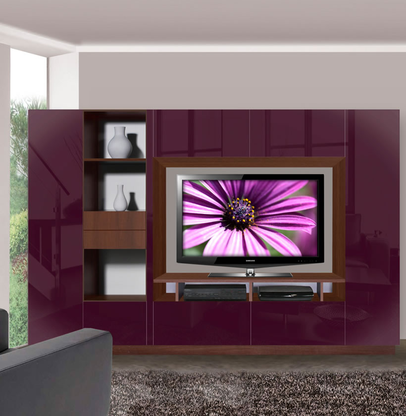 Ian entertainment center 10 foot entertainment center contempo space for Black wall units for living room