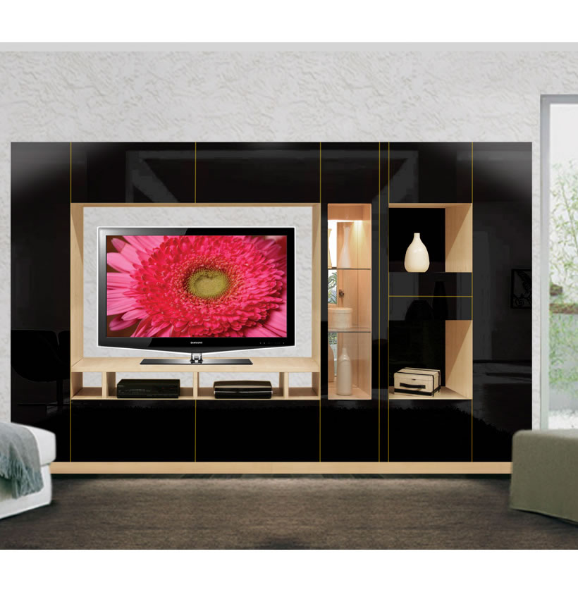 Isabella Wall Unit W Mirrored Display Glass Shelves And Lighting Contempo Space