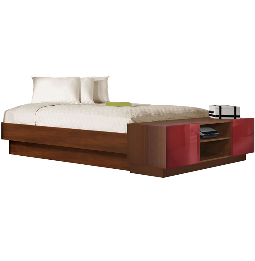 King size platform bed with storage footboard contempo space for King size footboard