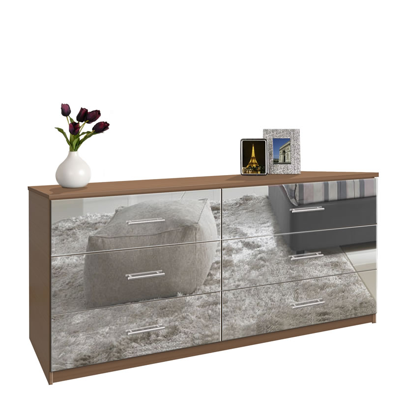 Plum Accent Wall Bedroom Cabinet Design For Bedroom With Mirror Bedroom Interior Images Pictures Bedroom Furniture Walnut: 6 Drawer Double Dresser - Chest Of Drawers