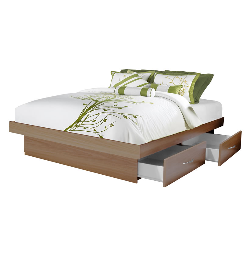Queen Platform Bed With  Drawers Contempo Space