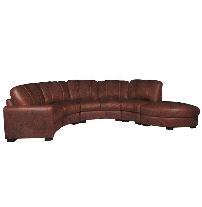 Curved Sofa Sectional Leather: Curved Sectional Sofa In Chestnut