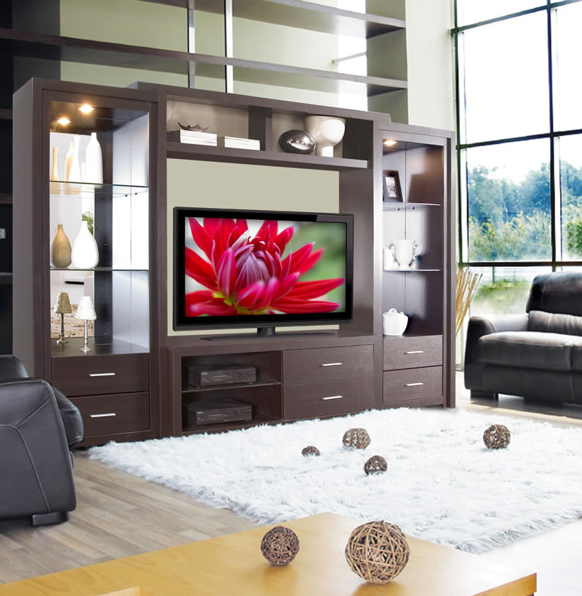 Savoy Wall Unit Big Glass Shelves Open Spaces Contempo Space