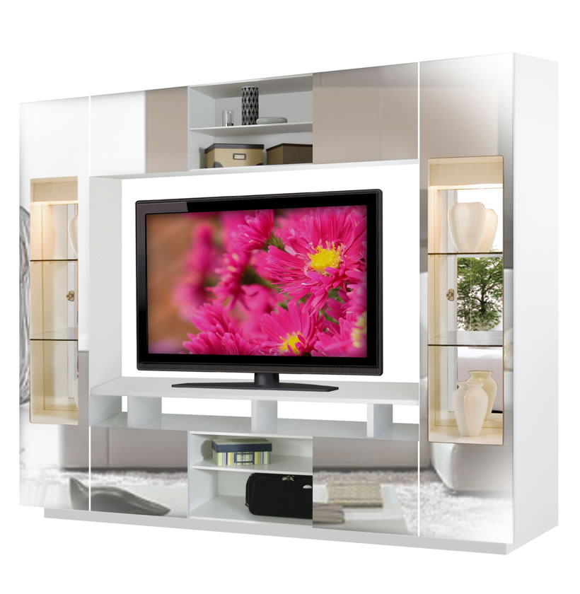 Tyler Wall Unit W Clear Glass Doors Interior Backlight