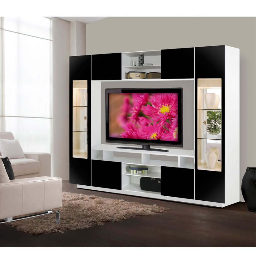 Tyler Wall Unit W Clear Glass Doors Interior Backlight Contempo Space