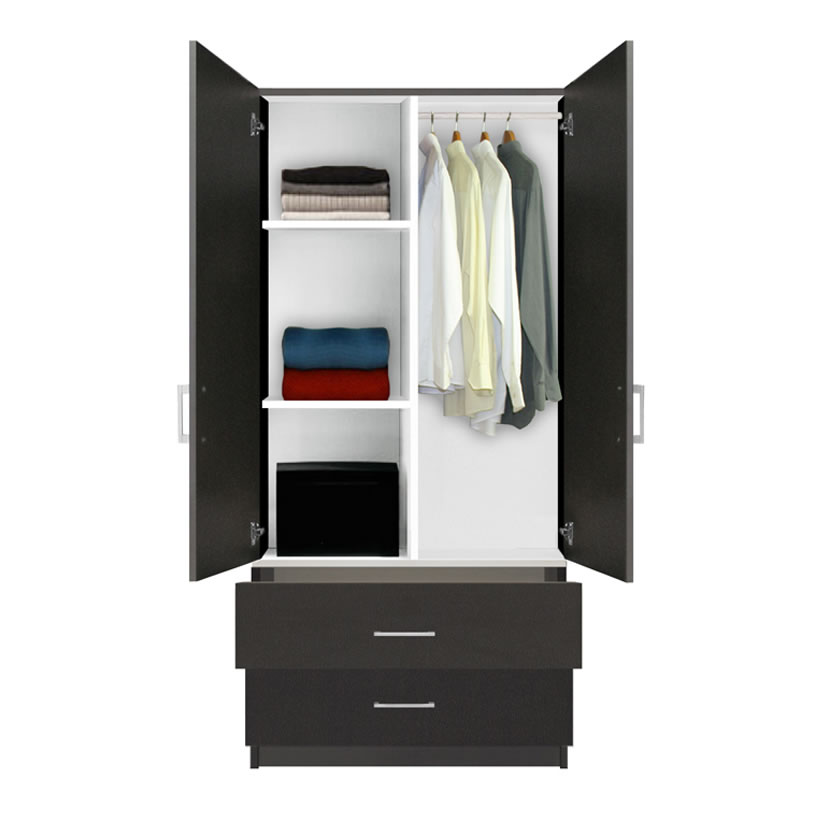Alta wardrobe armoire 2 drawer wardrobe shelves hangrod contempo space for Bedroom armoire with tv storage