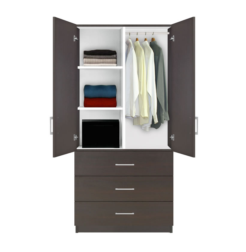 Alta Wardrobe Armoire 3 Drawer Wardrobe Shelves