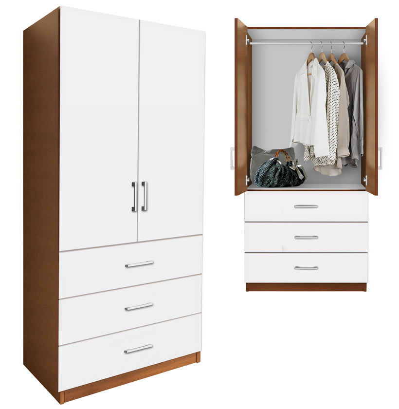 Alta Wardrobe Armoire - 3 External Drawers | Contempo Space